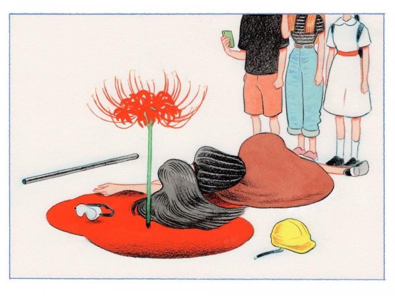 少女倒地後,鮮血淌流,其中開出了一朵豔紅的彼岸花,旁觀的路人以手機記錄下了這一幕。(圖擷取自臉書_Little Thunder 門小雷/Little Thunder 門小雷授權)