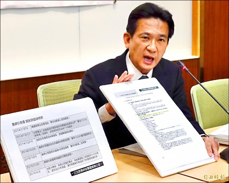 民進黨立委林俊憲昨召開記者會,再爆韓國瑜7200萬購屋過程,找議員開3次協調會,令台肥轉彎借出13億元。(記者塗建榮攝)