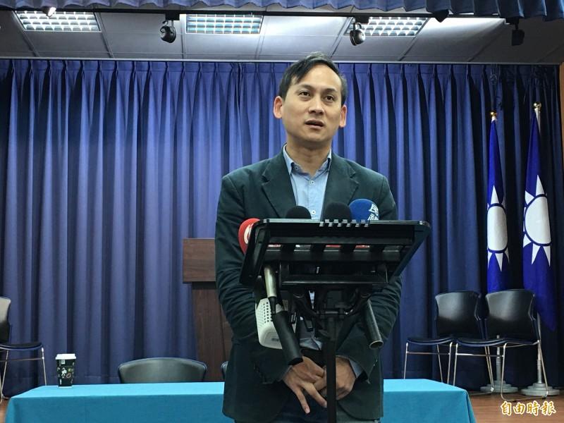 國民黨總統參選人韓國瑜競選辦公室發言人葉元之回應時事。(記者林良昇攝)