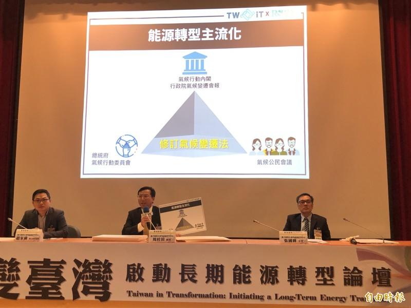 台大風險中心提出《鉅變台灣:啟動長期能源轉型》報告,呼籲台灣應確立國家級行動策略。(記者羅綺攝)