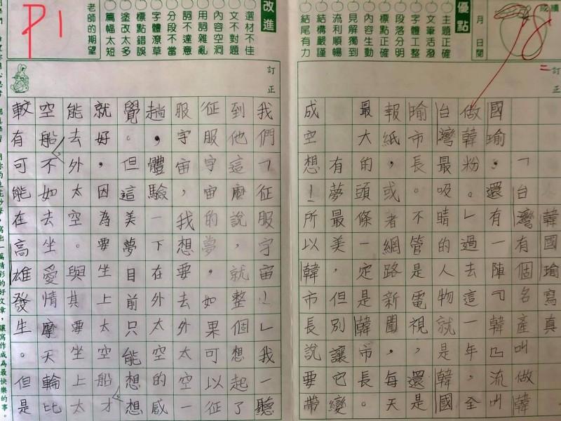 學生以「韓國瑜寫真」為題,寫下長文狠批韓國瑜只會做夢。(圖擷取自「只是堵藍」粉專)
