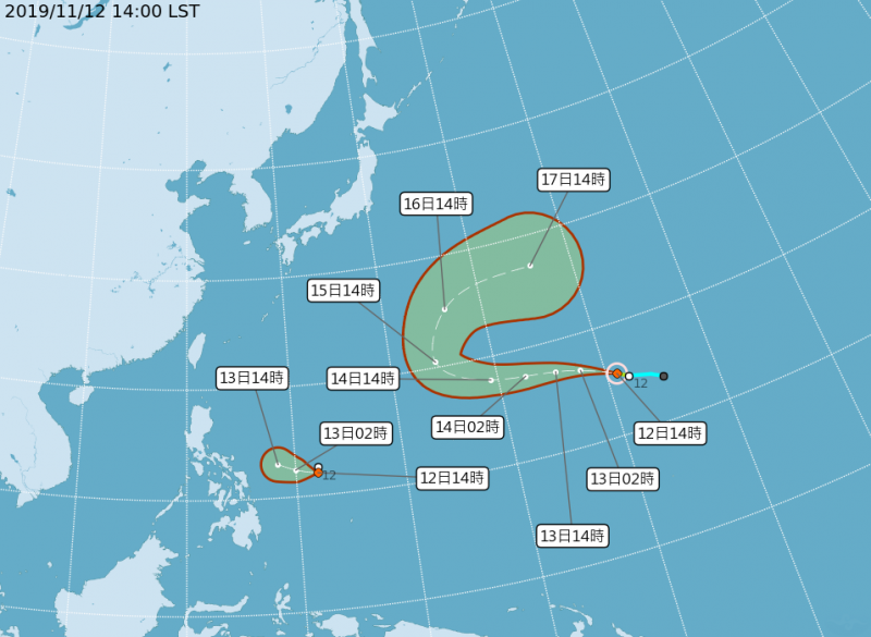 中央氣象局指出,位於威克島西南方海面的熱帶性低氣壓在今天下午增強為今年第25號颱風「風神」,下午2點中心位置位於北緯15.5度,東經161.0度,以每小時31公里速度朝西北西進行。(圖片擷取自中央氣象局)
