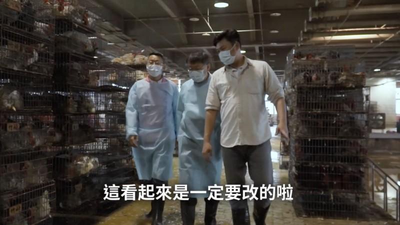 台北市長柯文哲(中)上個月才在臉書貼出親訪家禽市場的影片,還舉出許多設計、管理的缺點,直說要改。(圖擷取自柯文哲臉書影片)
