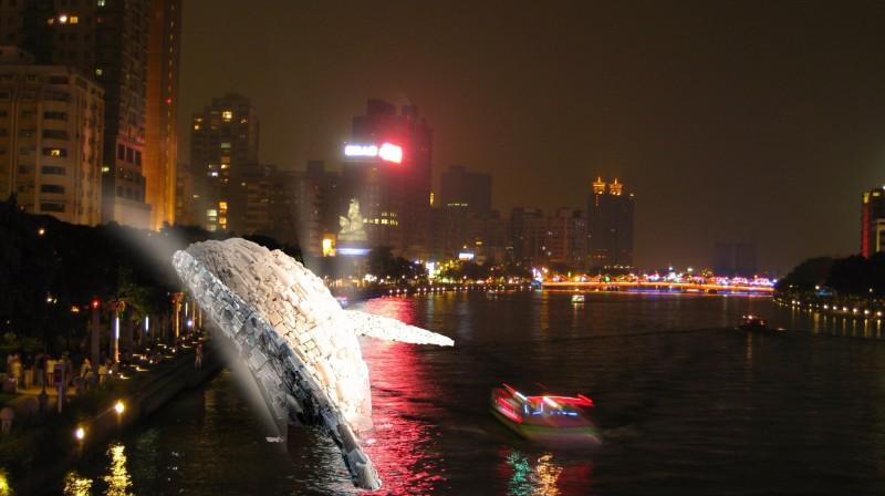 「愛河.愛之鯨」未來完成的示意圖結合愛河夜色。(高雄市政府提供)