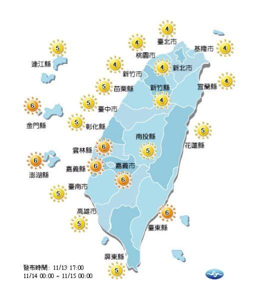 紫外線方面,明天全台各地皆為「中量級」至「高量級」。(圖擷取自中央氣象局)