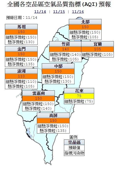 空氣品質方面,明天宜蘭及花東空品區為「普通」等級;北部、竹苗、中部、雲嘉南、高屏空品區及離島地區皆為「橘色提醒」等級。(圖擷取自環保署空氣品質監測網)