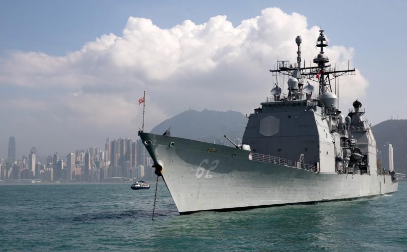美國海軍飛彈巡洋艦「昌塞勒斯維號」(USS Chancellorsville)。(歐新社)