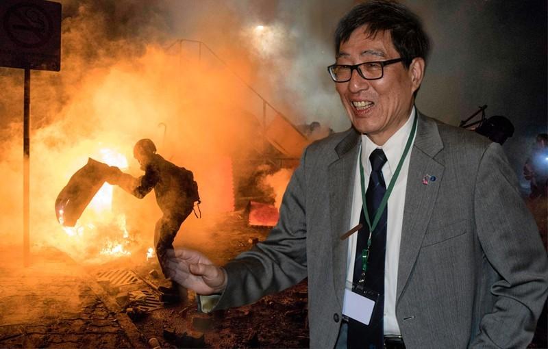 不只香港中文大學遭港警攻擊,香港城市大學也淪陷槍林彈雨,但是城市大學校長郭位至今神隱不見蹤影。(合成照)