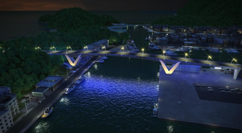 南方澳新跨港大橋納入南方澳特產「鯖魚」意象,橋樑每個細節都與鯖魚有關,入夜後則會打上景觀燈。(蘇花改工程處提供)