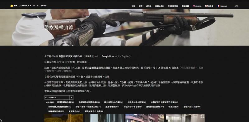 香港網友集合眾人之力將「警察濫權實錄」資料庫上線,紀錄超過1400件警察濫權個案。(圖擷取自「警察濫權實錄」網站)