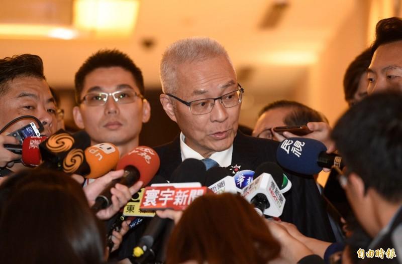 國民黨主席吳敦義(見圖)下午出席台灣國際發明得獎協會頒獎典禮,會前被問及不分區名單是否調整,他說,自己的順序會往下調。(記者叢昌瑾攝)