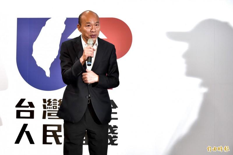 國民黨總統參選人韓國瑜今(14日)公開表示,要解決香港問題,就要貫徹民主普選,也就是雙普選精神,香港人民有權利直接選出自己的特首、直接選出自己的議員。(記者塗建榮攝)