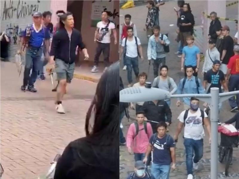 今天上午在上水大會堂附近,有多名手持鐵管及攻擊性武器的疑似黑社會人士圍毆黑衣青年,還有黑衣女子一度被擄走,後來有消息稱女子已經逃脫。(圖擷取自臉書)