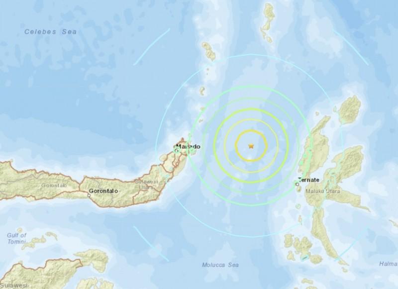 印尼今天發生規模7.1強震。(圖擷自USGS)