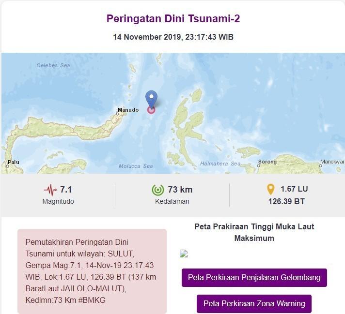 印尼氣象、氣候暨地球物理局發佈海嘯警報。(圖擷自BMKG)