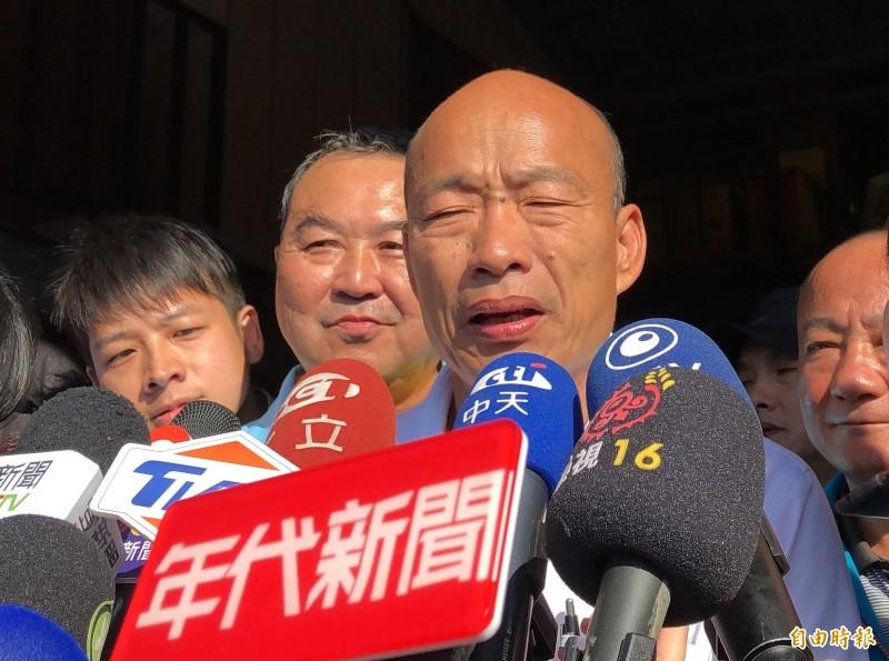 國民黨總統參選人韓國瑜(見圖)表示,「解決香港問題,就要貫徹民主普選」並表態力挺,對此「香港眾志」秘書長黃之鋒表示「謝謝支持」,但也酸言強調「不要在進中聯辦了」。(資料照)