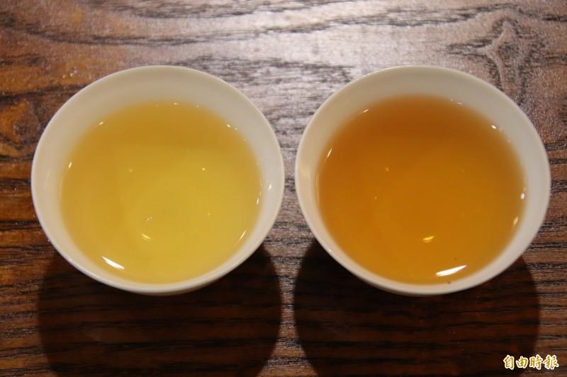 茶湯較淺的是東方美人茶茶湯(左),如琥珀般深沈的則是「迎香紅茶」(右)。(記者黃美珠攝)