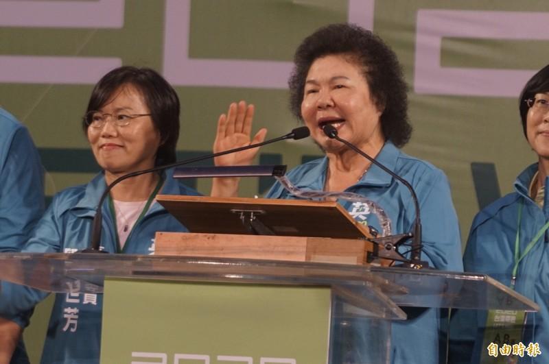 陳菊呼籲鄉親,明年1月11日一定要出來投票。(記者黃佳琳攝)