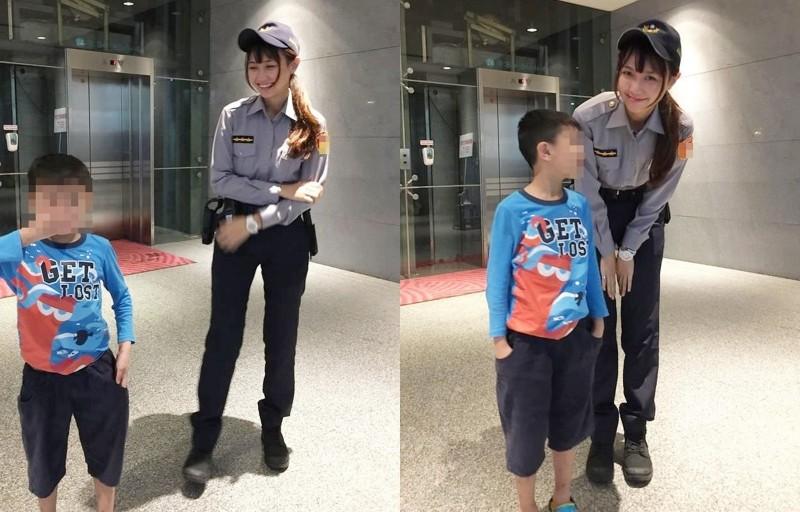 「警界梁詠琪」黃衣淳因著甜美長相和逆天長腿,在新北耶誕城擔任執勤時,被民眾要求合照,事後像片在網路上瘋傳。(圖翻攝自網路)