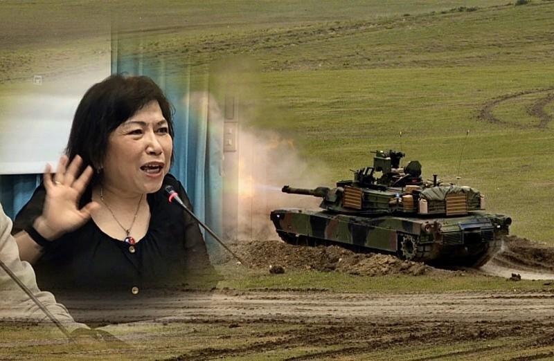 葉毓蘭認為,美國賣台灣M1A2戰車讓她相當害怕。(資料照、路透檔案照合成圖)