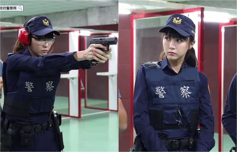 「警界梁詠琪」黃衣淳在網路節目「木曜4超玩-一日系列」亮相,當起「警界學姐」,其中她超殺的射擊模樣更是讓網友們暴動。(圖擷自木曜4超玩Youtube)