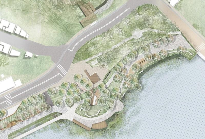 青草湖水岸環境改善工程完工示意圖。(記者蔡彰盛翻攝)