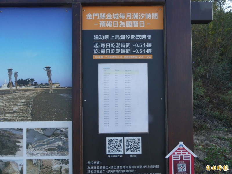 金門縣政府設在通往建功嶼石板步道起始點的岸邊,設有潮汐時間表,裡面均有註記「建議上島時間」。(記者吳正庭攝)