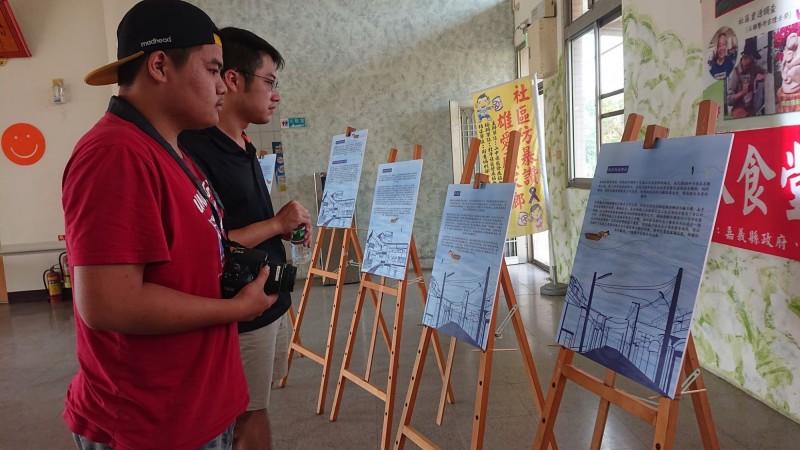 金世界的淹水歷史在社區活動中心呈現。(記者林宜樟翻攝)