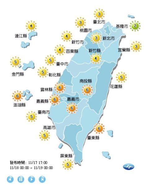 紫外線方面,明天基隆市為綠色「低量級」,雲林縣、南投縣、嘉義縣市、台東縣以及澎湖地區為橘色「高量級」,其他地區皆為黃色「中量級」。(擷取自中央氣象局)