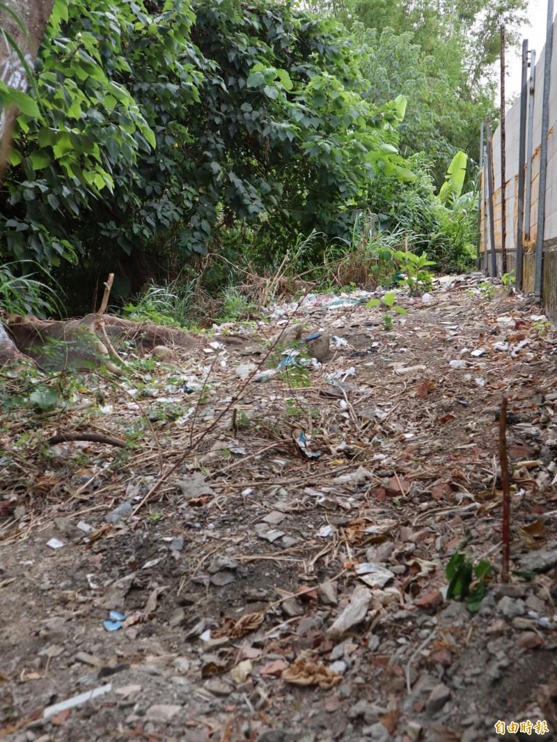 圍籬後方邊坡仍可見零星垃圾。(記者歐素美攝)