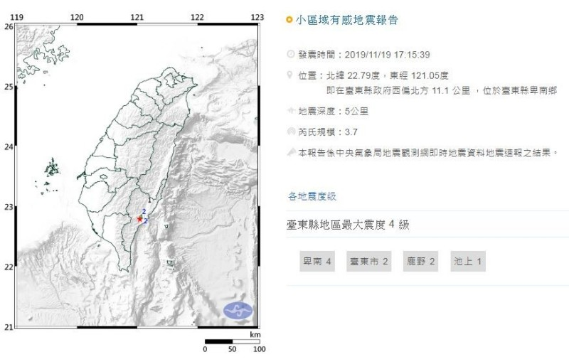下午5點15分時,台東縣政府西偏北方11.1公里 處發生地震深度5公里,芮氏規模3.7的地震,最大震度達4級。(圖片擷取自中央氣象局)