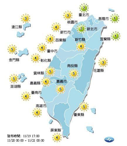 紫外線方面,明天台北市、新北市、基隆市以及宜蘭縣為綠色「低量級」,其他地區皆為黃色「中量級」。(擷取自中央氣象局)