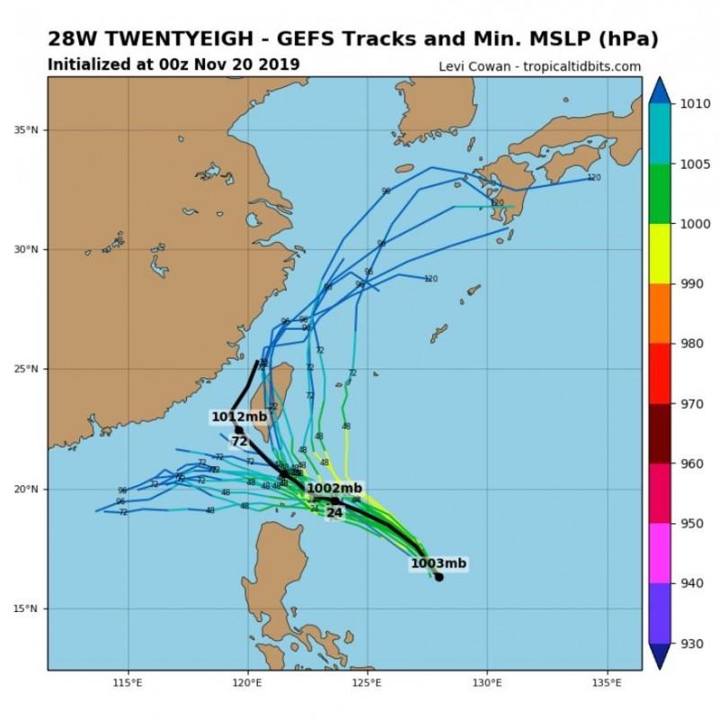 全球預報系統(GFS)模擬路徑圖顯示,鳳凰颱風有可能登陸台灣。(圖取自tropicaltidbits)