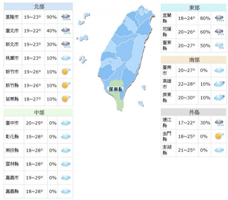 氣象局指出,明東北季風減弱,全台日夜溫差大。(圖取自氣象局)