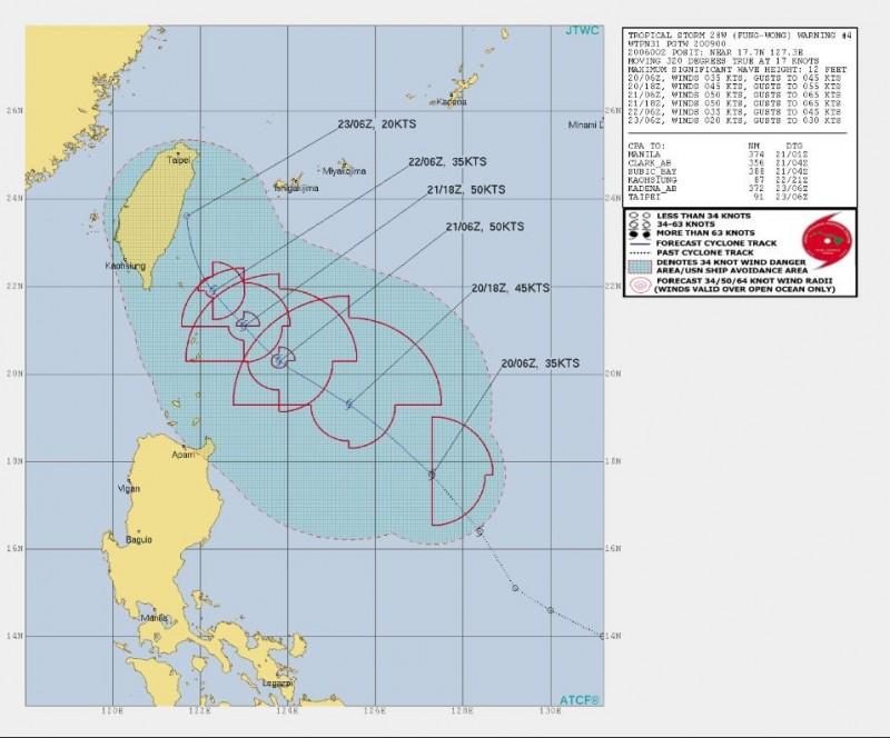 美軍預測,台灣22日上午6時起可能進入鳳凰颱風「8級風危險區域」。(圖取自JTWC)