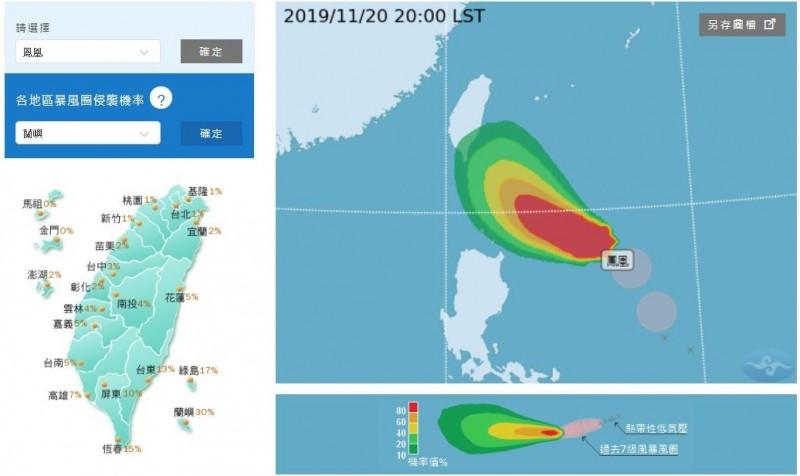 氣象局預測,颱風侵襲台灣東南部機率最高。(圖取自中央氣象局)