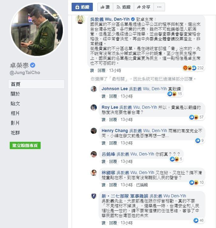 民進黨主席卓榮泰21日凌晨在臉書發表致國民黨主席吳敦義的公開信,希望國民黨撤換不分區名單中的部分人選。沒想到,吳敦義竟直接在貼文下方留言反嗆民進黨不分區名單是「喬」出來的。(擷取自卓榮泰臉書)