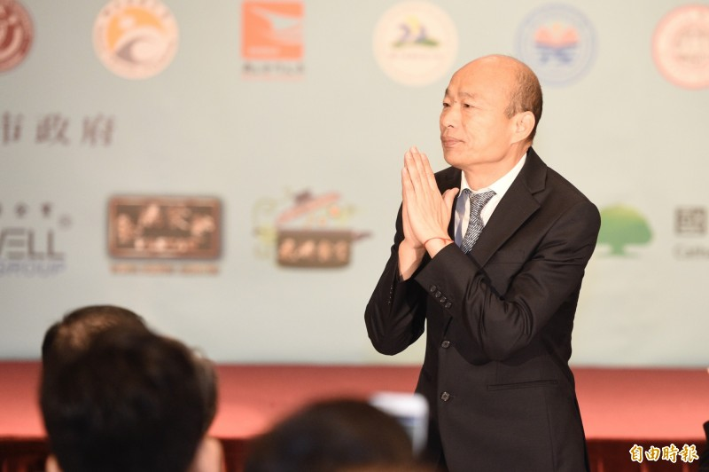 韓國瑜指出,若民眾支持民進黨,認為過去3年台灣社會很棒,請投蔡英文。(資料照)