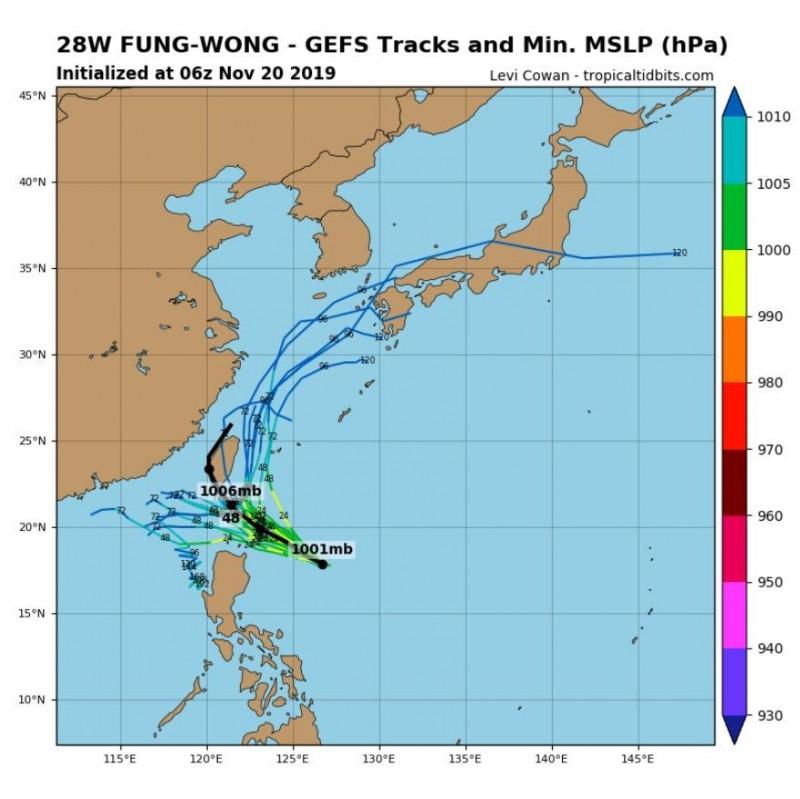 全球預報系統(GFS)模擬路徑圖顯示,颱風有機率登陸台灣並移往台灣海峽。(圖取自tropicaltidbits)