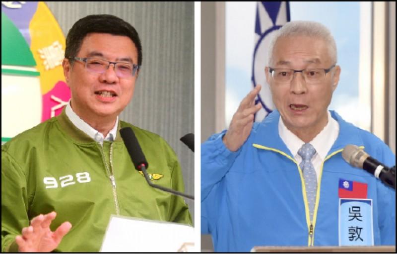 民進黨主席卓榮泰質疑國民黨不分區立委名單,引來國民黨主席吳敦義的反擊。(資料照)