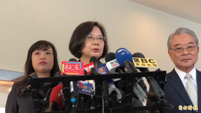 蔡英文表示,有上班的市長都有證實,不懂為何沒上班的覺得沒有投資。(記者周湘芸攝)