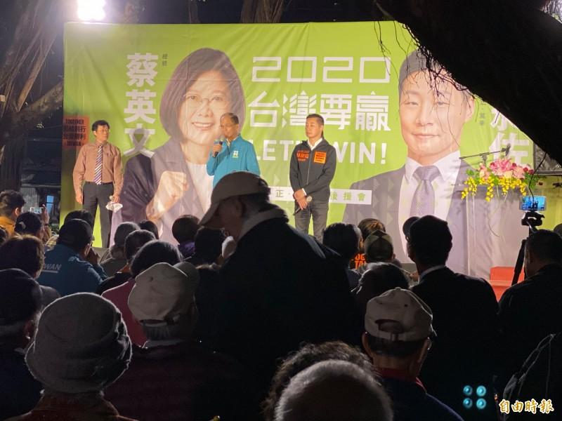 林昶佐今晚在台北市中正區永昌公園舉辦「蔡英文、林昶佐聯合後援會成立大會」。(記者楊心慧攝)