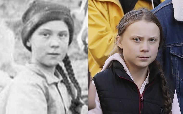 120歷史老照片中的少女(左),長相與髮型激似瑞典環保少女(右)。(本報合成照,左右分別取自華盛頓大學圖書館、美聯社)