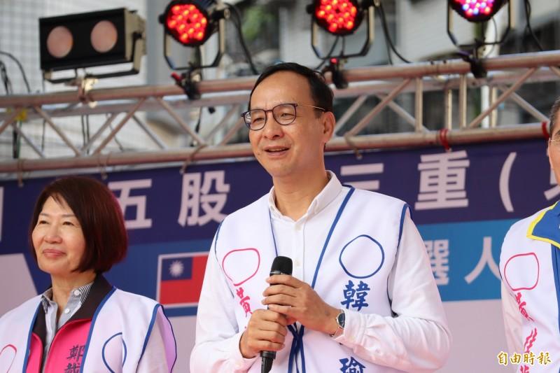 針對是否擔任韓國瑜競選總部主委,朱立倫表示,自己跟韓國瑜有完全的共識。(記者周湘芸攝)