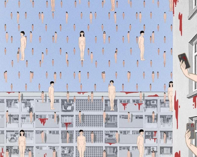 由香港插畫師Pon'Seed所創作的畫作《當荒謬成為日常》,以超現實的筆觸畫風記錄香港現況。(圖擷取自臉書_Pon'Seed/香港插畫師Pon'Seed授權)