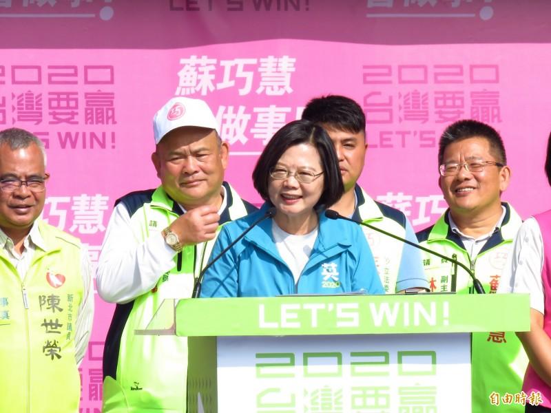 蔡英文今天出席蘇巧慧的競選總部成立大會。(記者陳心瑜攝)