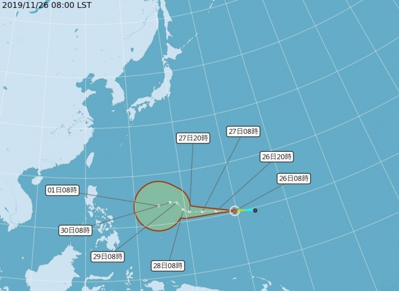 中央氣象局表示,今年第28號颱風北冕(Kammuri,日本命名)今天上午8點生成。(記者蕭玗欣翻攝)