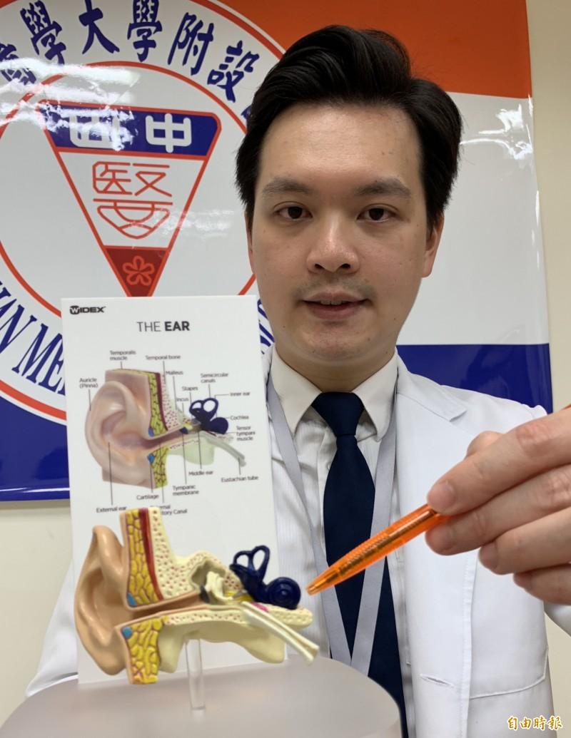 醫師溫惟昇指出,重度、極重度聽障者,是耳蝸損傷,無法將聲音轉換為神經訊號,透過聽神經由腦部接收。(記者蔡淑媛攝)