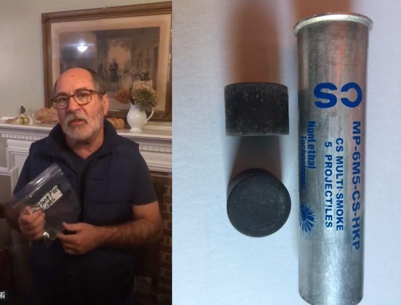 一名美國牧師先前曾到理大外聲援示威者,由於港府不願公開催淚彈有毒成分,他為此將一個催淚氣罐帶回美國,打算自己送實驗室進行化驗。(圖擷自Rev. Patrick Mahoney推特,本報合成)