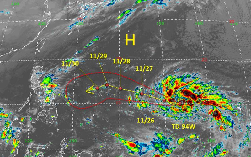 氣象局指出,位於關島東南東方海面的熱帶性低氣壓,今(26)日有機會發展成今年第28號颱風「北冕」;天氣風險公司分析師吳聖宇指出,該熱帶系統將往菲律賓東方靠近,且可能發展成一個又大又強的颱風。(圖擷自天氣職人-吳聖宇臉書)